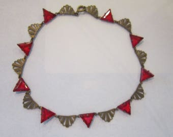 deco necklace red stones vintage deco necklace 14 1/2""