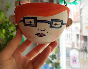 Velma-hanging planter-ceramic planter-indoors planter