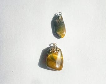 Tiger Eye Agate Pendants 2 Vintage Jewelry Jewellery Making Supplies 1960s