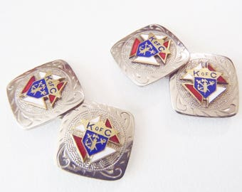 Antique Knights of Columbus Cuff Links Silver- and Gold-Tone Double-Sided Bridge Cufflinks w/ Enamel K of C Crests signed w/ D & Co mark