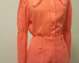 Vintage Late 1960s 3 Piece Bobby Brooks Blouse Pants Poncho Set Small