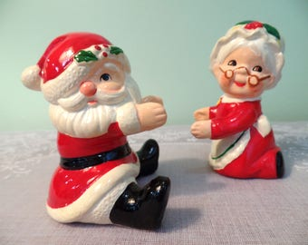 Vintage Santa & Mrs. Clause Salt and Pepper Shaker Set - Salt and Pepper Shakers - Santa and Mrs. Clause - Lefton - Lefton Santa Shakers