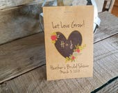 Brand New! Rustic Chalkboard Heart Let Love Grow - Flower Seed Packet Favor Shabby Chic Cute Favors for Bridal Shower or Wedding, Birthday