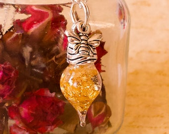 Bee necklace, Honey bee necklace, gold flakes, genuine gold flake necklace, tear drop,