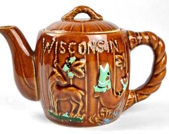 Vintage Wisconsin Tea Pot Souvenir North Woods Wisconsin Dells