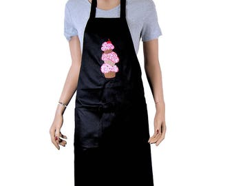 Pink Cupcake Stack Embroidered Logo Pocket Black Chef Apron MTCoffinz - Ready to Ship