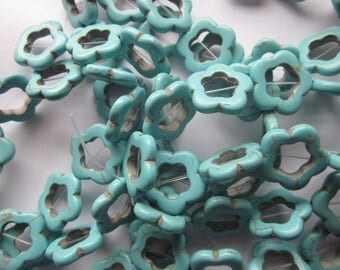 Blue Open Flower Magnesite Beads 18mm 10 Beads