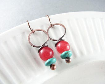 Wire Wrapped Earrings Red Jade Earrings Copper Earrings Wire Wrapped Jewelry Copper Wire Wrap Boho Chic Red and Blue
