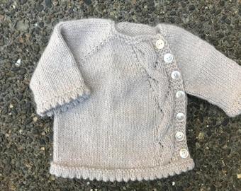 Newborn Baby Cardigan - wool sweater