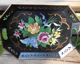 Vintage 1950s to 1960s Large Black Metal Toleware Tray Decorative Flowers Pink/Purple/Yellow/Gold Cutouts Handles Retro by Plgrim Art No.148