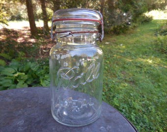 Vintage 1920s to 1940s Clear Glass Ball Ideal Canning Jar Rusty Wire Bail Embossed Farmhouse Country Home Storage