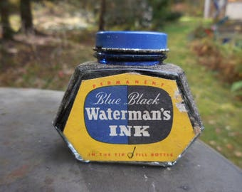 Vintage 1940s to 1950s Waterman's Permanent Fountain Pen Ink Blue/Black NIB Anchor Hocking Bottle/Jar Retro NOS Label Blue Metal Cap 2 oz.