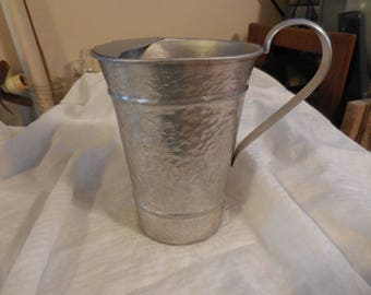Vintage 1950s to 1960s Aluminum Pitcher by Gailstyn Hammered Retro Movie Prop Water Pitcher Silver Tone