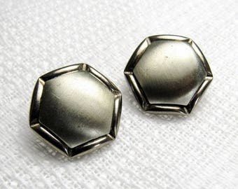"Hexagon Domes: 3/4"" (19mm) Multi-Textured Silver Metal Buttons - Set of 2 Vintage Matching Buttons"
