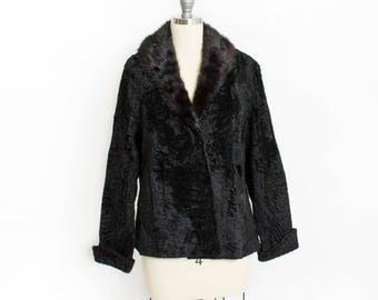 Vintage 1950s Fur Coat - Black Persian Lamb + Mink Collar Jacket - Small