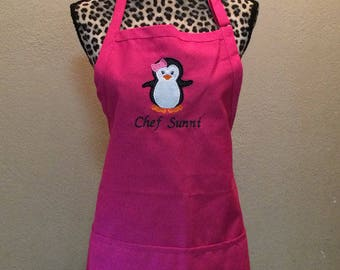Embroidered Womens Kitchen Apron Personalized FREE Penguin