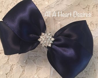 Hair Bow, Navy Satin with Rhinestone Center, Navy Blue Flower Girl Hair Bow, Hair Bow, Navy Satin Pageant Bow, Christmas Hair Bow