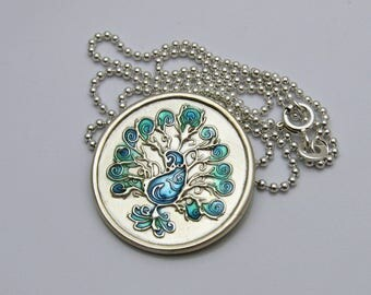 Silver and Blue Peacock Necklace, Handmade Silver Peacock Necklace, Colorful Blue Peacock Necklace, Peacock Lover Gift, Peacock Bird