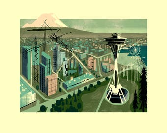 Space Needle Illustration