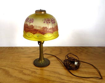 Art nouveau lamp etsy antique reverse painted lamp boudoir bedroom table lamp early 1900s reverse painted glass lamp shade art aloadofball Gallery