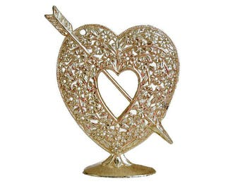 Valentines Day Gift, Torino Earring Holder, Gold Heart Arrow, Vintage Earring Tree, Earring Organizer, Vanity Accessory