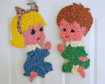 Melted Plastic Art, Praying Boy Girl, Melted Plastic Popcorn, Kids Room Decor, Vintage Nursery Art