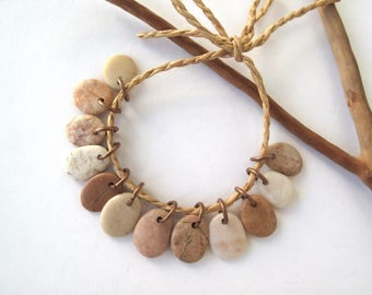 Beach Stone Charms Rock Beads Small Pebble Beads Jewelry Findings Mediterranean River Rock Beads Pairs Copper SMOOTH MIX 12-14 mm