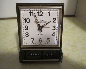 Seth Thomas Alarm Clock Travel Alarm Vintage Bedside Windup Folding Timepiece Made in Japan
