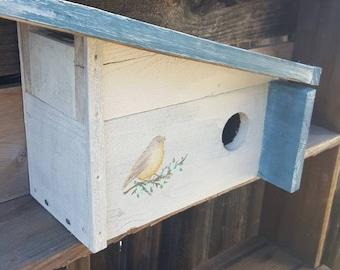 Modern garden,rustic birdhouse,mid century Modern,unique birdhouse,outdoor birdhouse,cottage style,turquoise,bird house,old birdhouse,birds