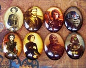 Steampunk Star Wars Mix (L24) Jewelry Making Supply, Mixed Lot of 8, Digital Image Under Glass Oval Cabochon, Digital Manipulation Artwork