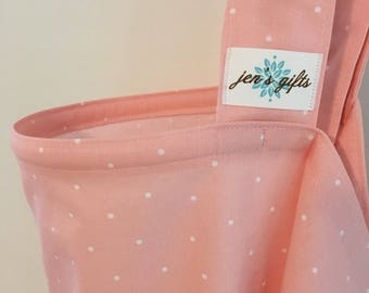 Nursing Cover Up in Blush Pink with White Polka Dots, Breastfeeding Cover in Blush Pink