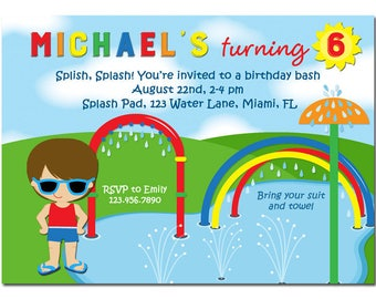Boy's Splash Pad Invitation Printable or Printed with FREE SHIPPING - Any Hair Color/Skin Tone - Splash Pad Collection