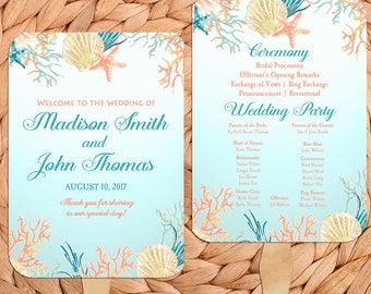 Beach Wedding Program Fans Printable Or Printed Assembled With FREE Shipping