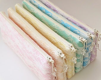 Pink Peach Yellow Mint Blue Lilac Ivory Lace Bridal Clutch Bag Bridesmaid Gift Spring Wedding Floral Purse
