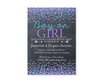 Chalkboard Confetti Gender Reveal Invitation