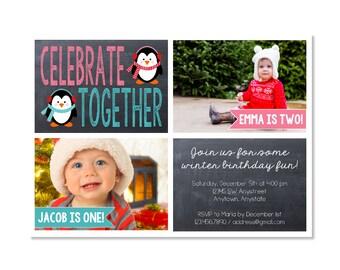 Joint Winter Birthday Invitation with photos