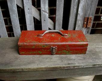 Vintage Metal Tool Box Carrier Industrial Storage Chippy Red Paint Rustic