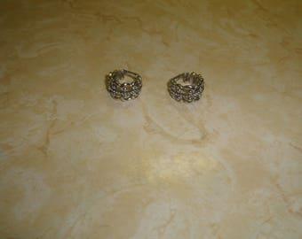 vintage clip on earrings silvertone open lace hoops avon