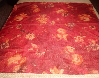 vintage ladies head neck scarf red ivory colored roses flowers made italy polyester