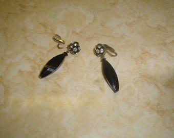 vintage clip on earrings black lucite dangles rhinestones