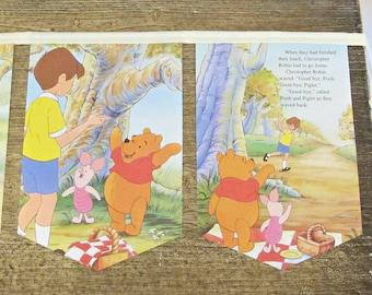 Winnie The Pooh Bunting. Bear Cream Little Golden Book Wall Hanging. Children Boys Domum Vindemia Unisex Girls. Nursery Storybook Banner