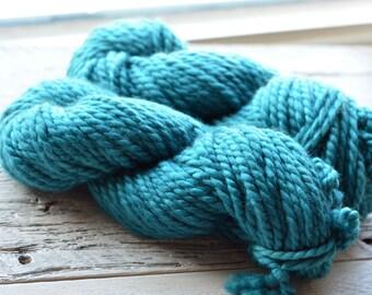 Hand-Dyed Superwash Merino and Nylon 2-ply Super Bulky Weight Yarn - Teal