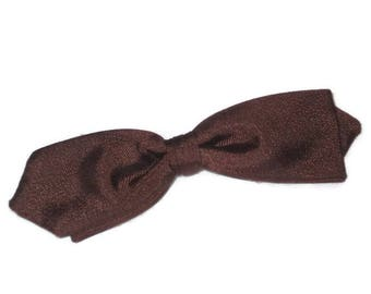1950s Bow Tie, Brown Bow Tie, Vintage Bow Tie, Diamond Point, Narrow Bowtie, Clip On Bow Tie, Brown Clip-On Bow Tie, Diamond Tip Bow Tie