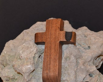"Wooden Wall Cross; 3""x5""x1""; Small Wood Cross; Wall Cross Decor; Crooked Cross; Mesquite; Handmade;  Free Ground Shipping cc5-203052018"