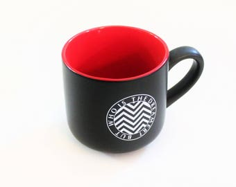 But who is the Dreamer Red Black White // Twin Peaks tv Show Pop Culture // 15 Ounce Large coffee cup, mug // Ready to Ship