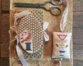 NEW! STACY NASH Mary's Garden Needle Book & Fob counted cross stitch patterns at thecottageneedle.com 2018 Nashville Market