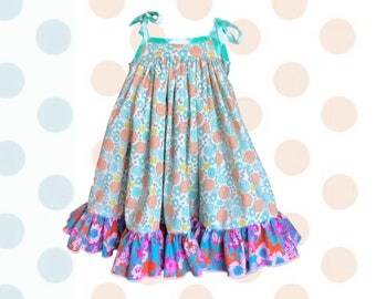 Girl Dress, Twirl Floral Madison, Floral Dress, Top, Neon, Sister Dress, Best Friend | 2T - 8 | Free Shipping, Turquoise
