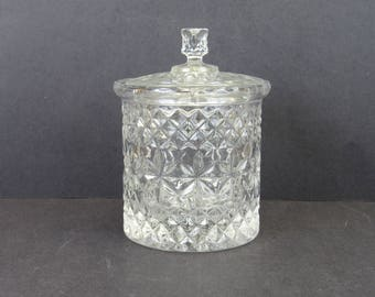 Vintage Cut Glass Biscuit Jar with Lid (E9662)