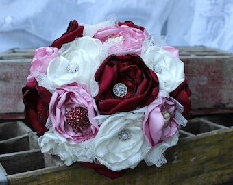 Blush, Wine, and Ivory Satin Fabric Bouquet, Brooch bouquet, Vintage, Satin, Bride's Bouquet, Wedding Flowers, Vintage Glam, Silk bouquet