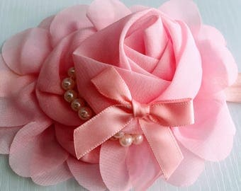 Shabby Chic Pink fabric Roses Rosebud pearls Center BOW headband hairbow band Hair Bow Boutique Handmade 3m 6m 12M 18M 24M 1st birthday NEW